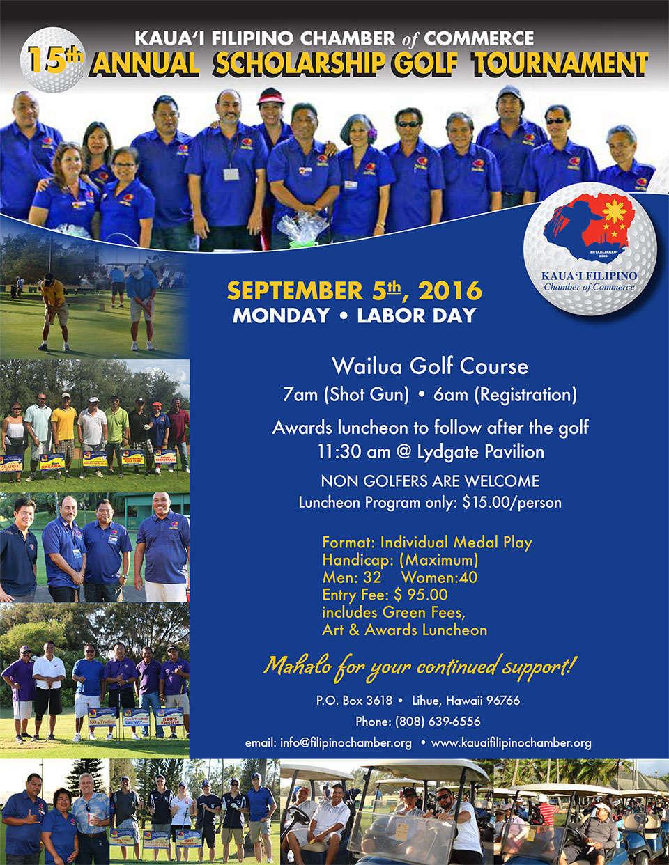 15th Annual Kauai Filipino Chamber of Commerce Scholarship Golf Tournament