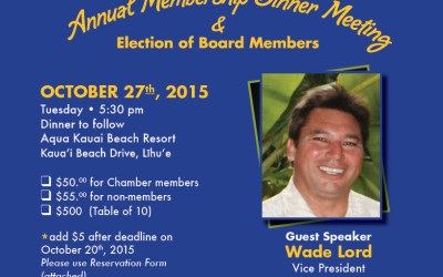 Annual Membership Dinner Meeting October 27, 2015