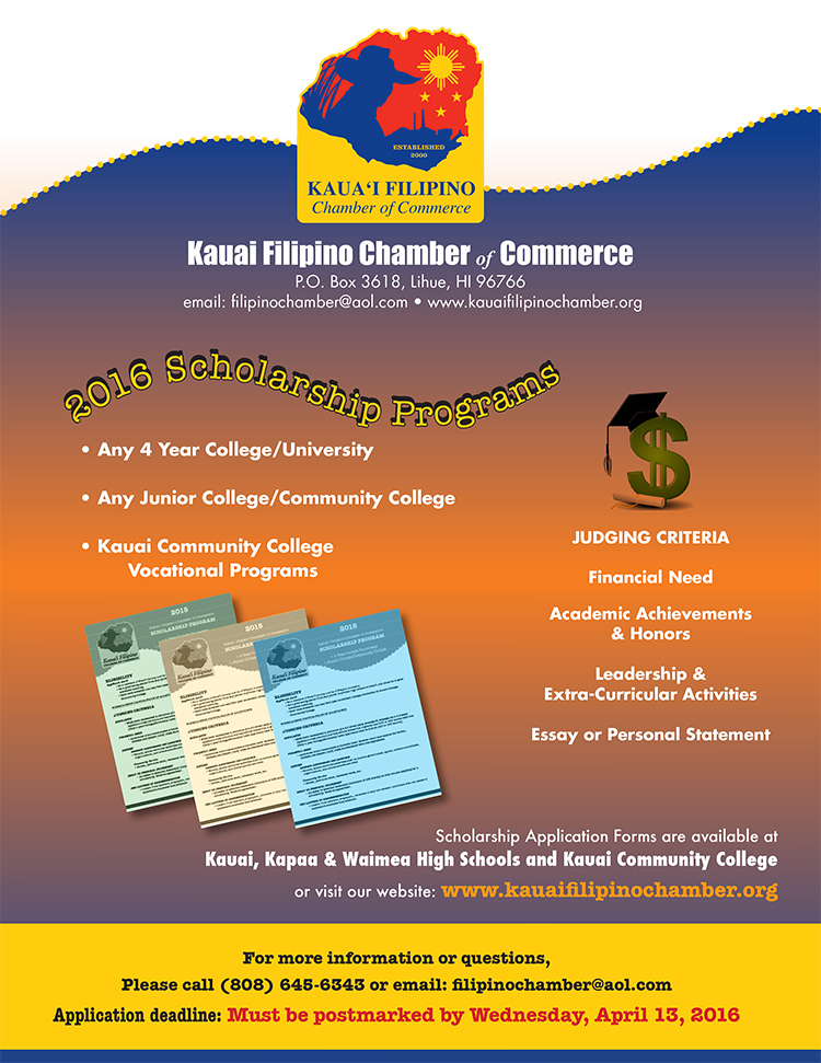 Kauai Filipino Chamber 2015 Scholarship Programs