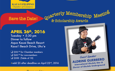 Quarterly Membership Dinner Meeting and Recognition of 2016 Scholarship Recipients