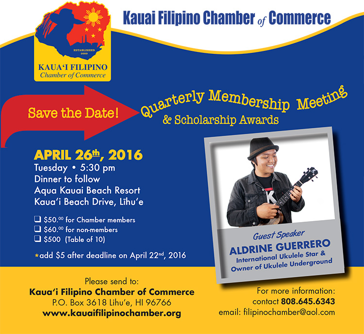 Kauai Filipino Chamber of Commerce Quarterly Membership Dinner Meeting and Recognition of 2016 Scholarship Recipients