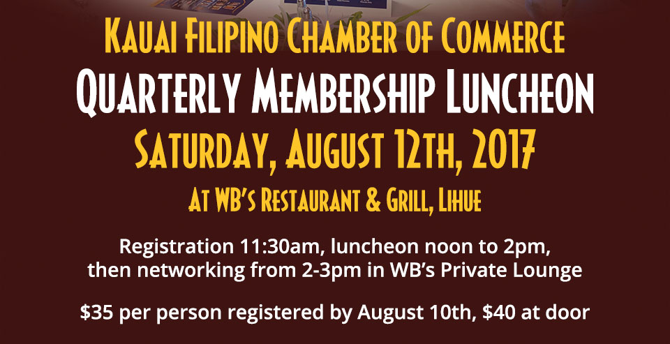 3rd Quarter Membership Luncheon August 12, 2017