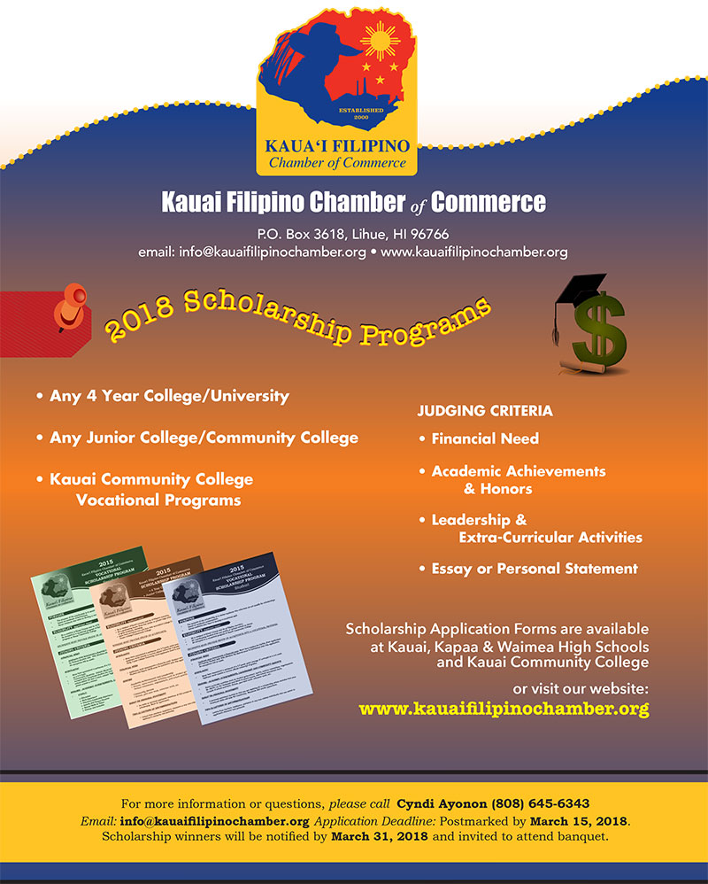 Kauai Filipino Chamber of Commerce Scholarship Flyer 2018