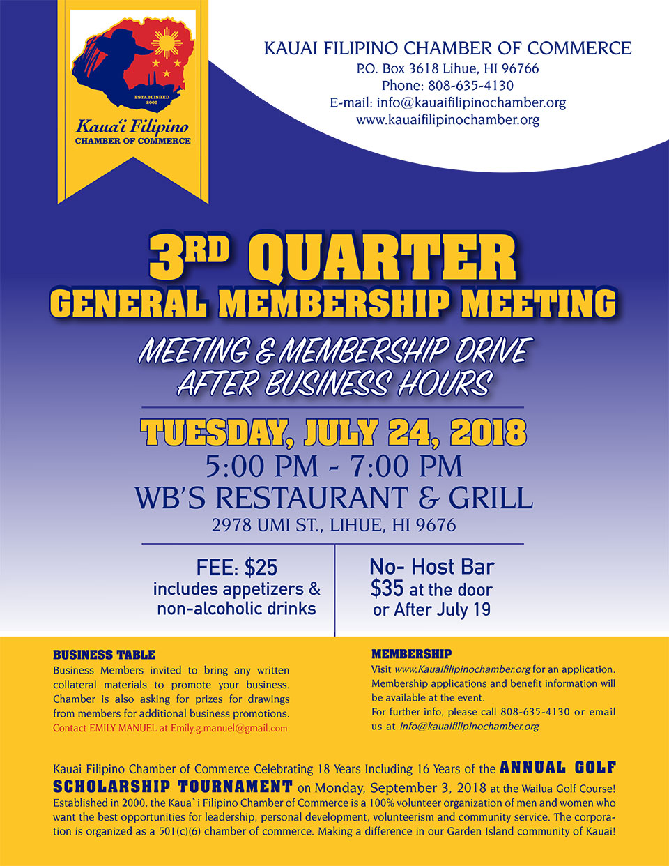 3rd Quarter General Membership Meeting Flyer